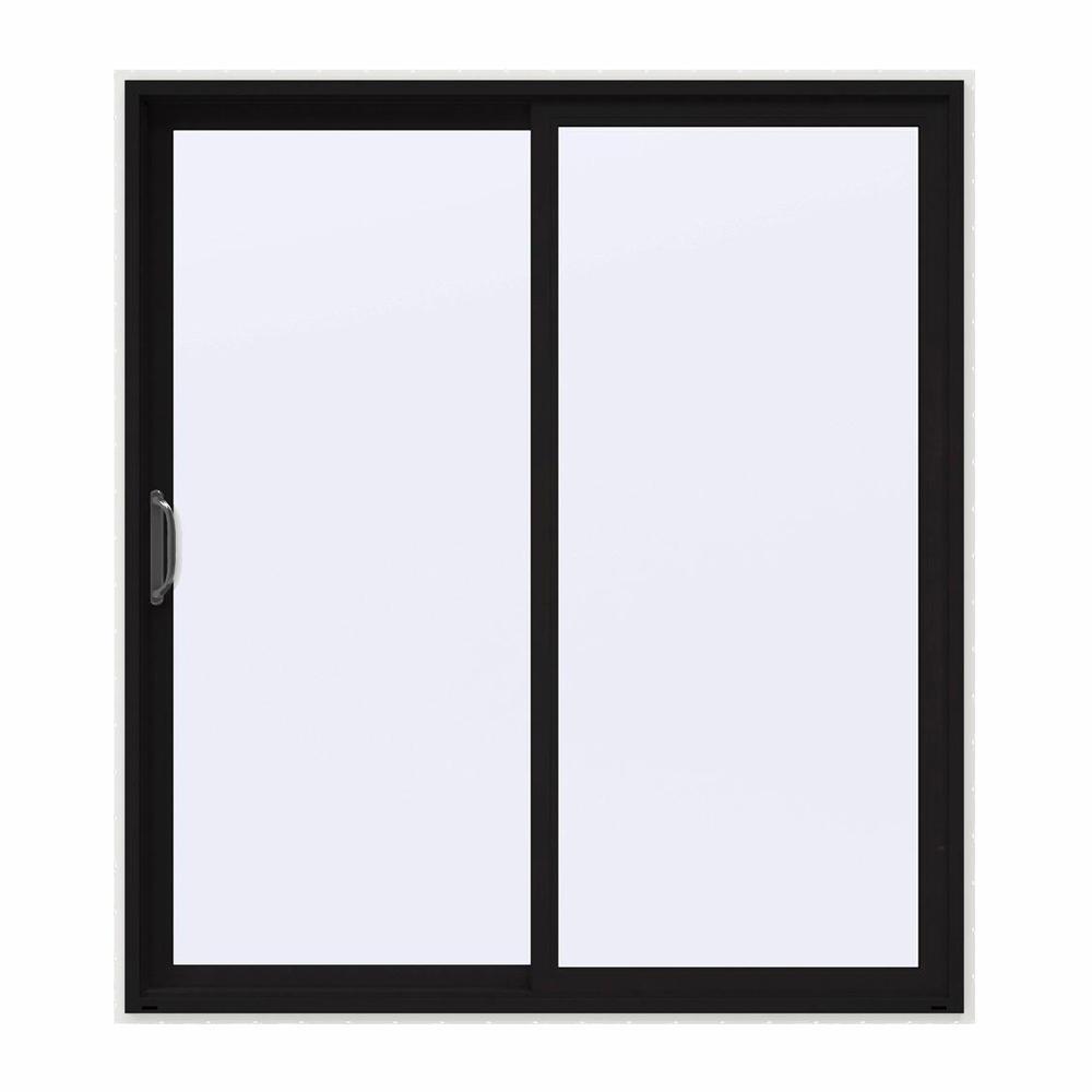 72 in. x 80 in. V-4500 Contemporary Black FiniShield Vinyl Left-Hand Full Lite Sliding Patio Door w/White Interior