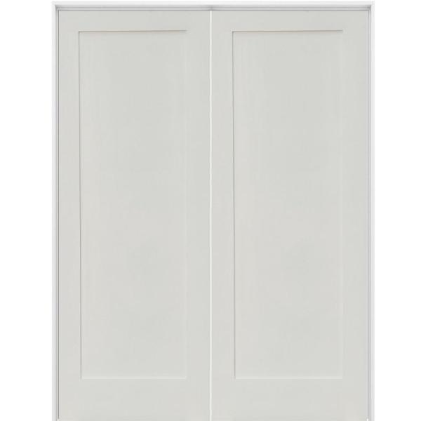 48 in. x 80 in. Craftsman Shaker 1-Panel Bi-Parting MDF Solid Hybrid Core Double Prehung Interior French Door
