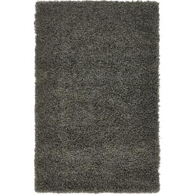 Solid Shag Graphite Gray 3 ft. x 5 ft. Area Rug