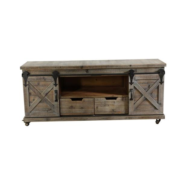 55 in. Natural Brown Wood TV Console 70 in. with No Additional Features