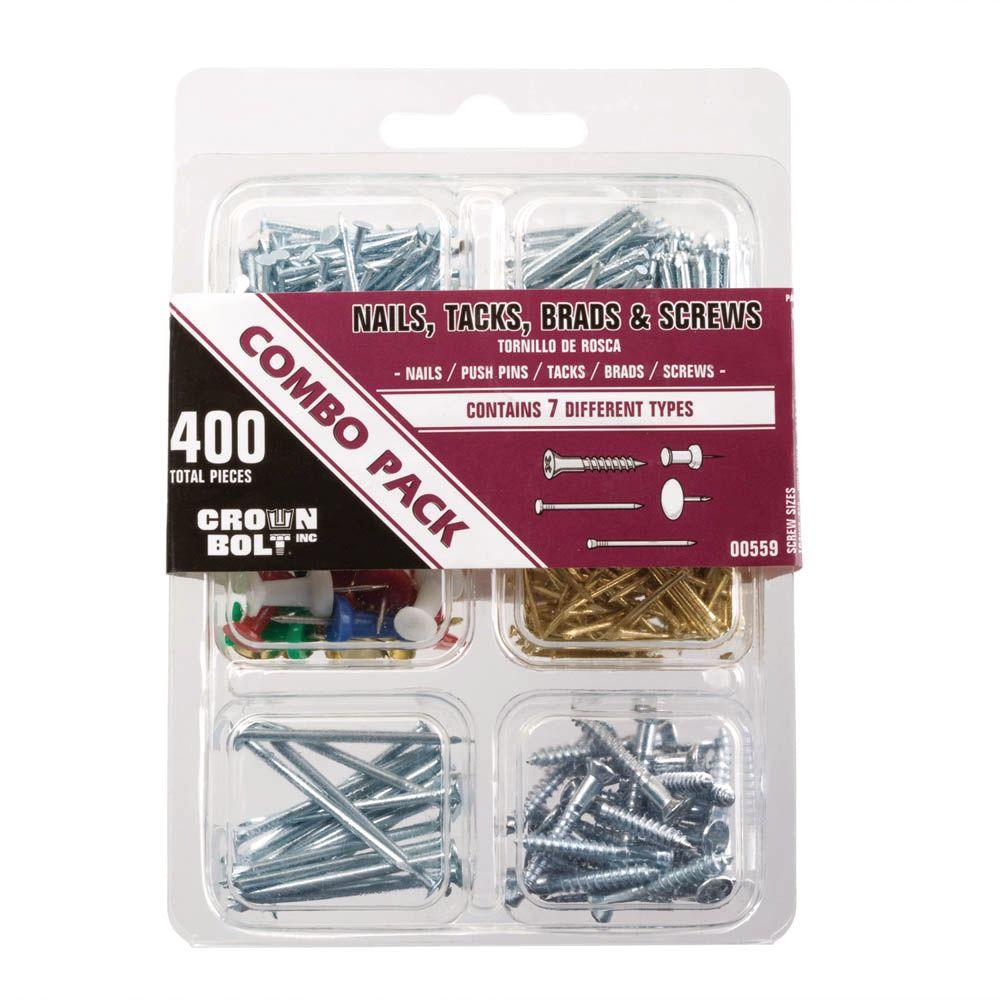 400-Piece Zinc-Plated Nail, Tack, Brad and Screw Combo Pack