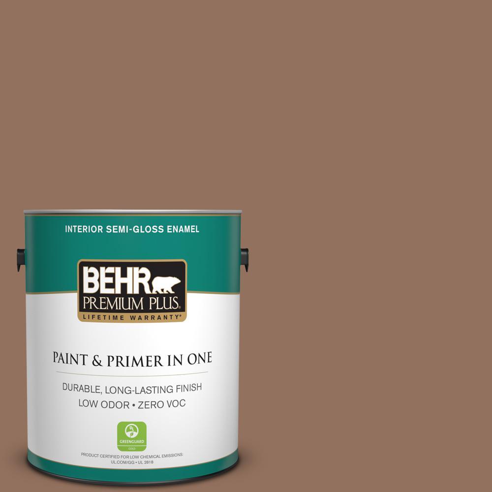 1-gal. #BXC-84 Corral Brown Semi-Gloss Enamel Interior Paint