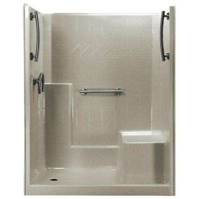 60 in. x 33 in. x 77 in. 1-Piece Low Threshold Shower Stall in Beach, Grab Bars, Right Hand Side Seat, Left Drain