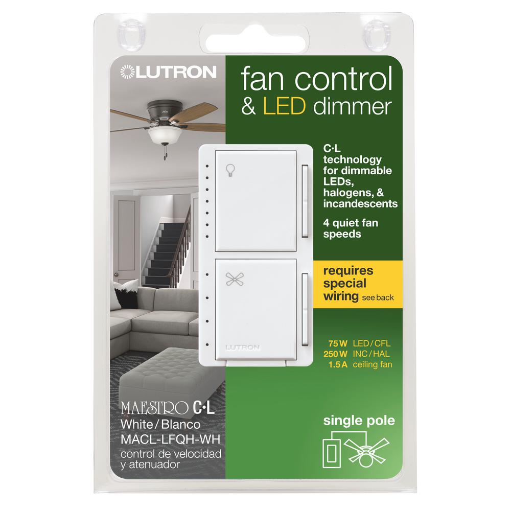 Lutron Maestro Fan Control And Light Dimmer For Dimmable Leds Incandescent And Halogen Bulbs Single Pole White Macl Lfqh Wh The Home Depot