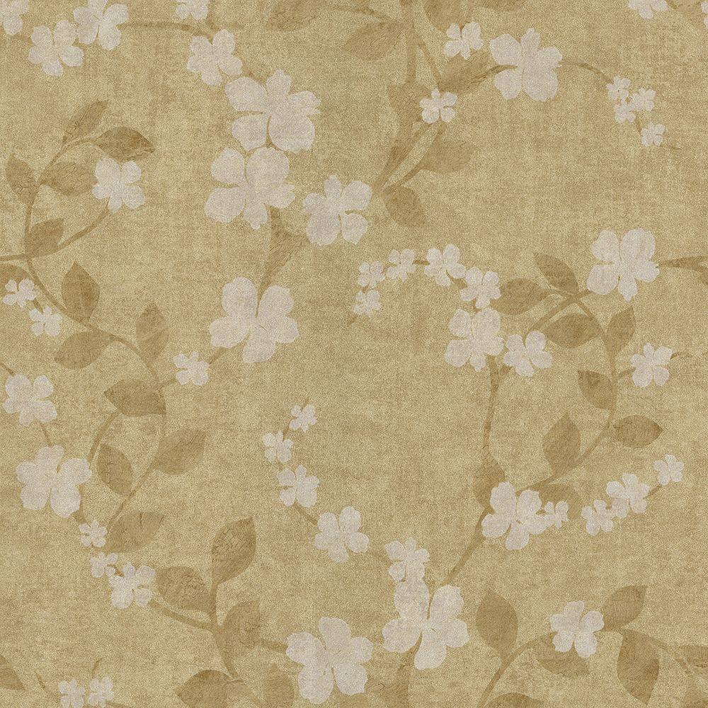 Lilyanne Taupe Floral Wallpaper Sample