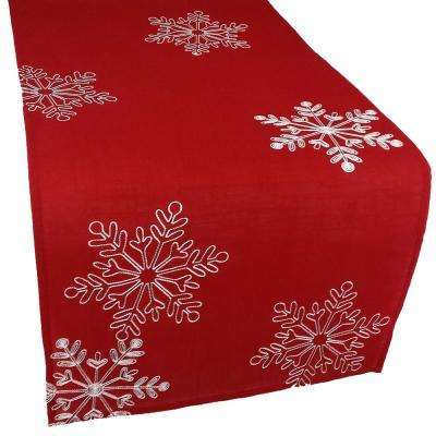 15 in. x 108 in. Christmas Red Table Runner Embroidered With White Snowflakes