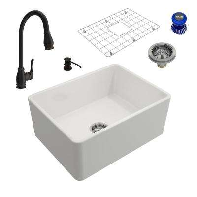 Classico All-in-One Farmhouse Fireclay 24 in. Single Bowl Kitchen Sink with Belsena Rubbed Bronze Faucet and Soap Disp