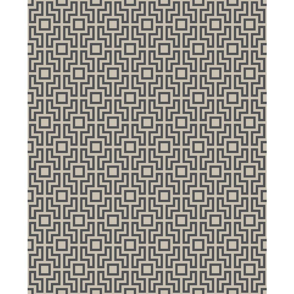 56.4 sq. ft. Boxwood Black Geometric Wallpaper