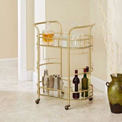 Sinclair 2-Tier Gold Serving Cart