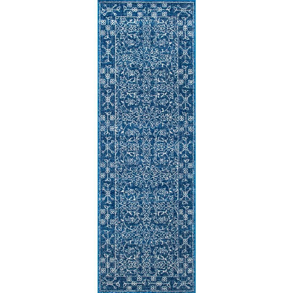 Rectangular Oriental Runner Area Rug 3x8 ft Verona Blue Synthetic Home Decor