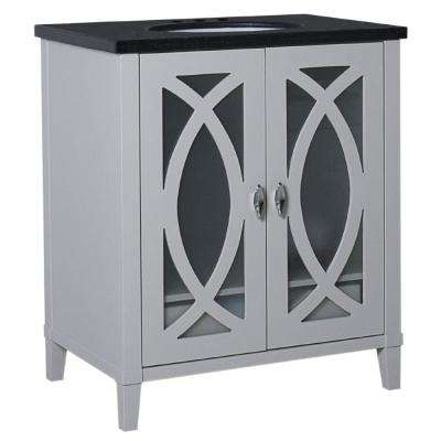 Brea 30 in. W x 22 in. D x 36 in. H Single Vanity in Light Gray with Granite Vanity Top in Black Galaxy with White Basin