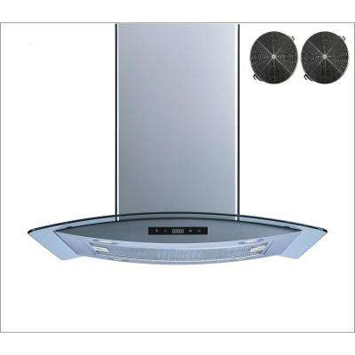 36 in. Convertible Island Mount Range Hood in Stainless Steel and Glass with Touch Control and Carbon Filters