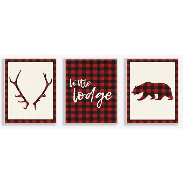 10 in. x 15 in. ''Little Lodge Antler Bear Plaid'' by Daphne Polselli Printed Wood Wall Art 3-Piece