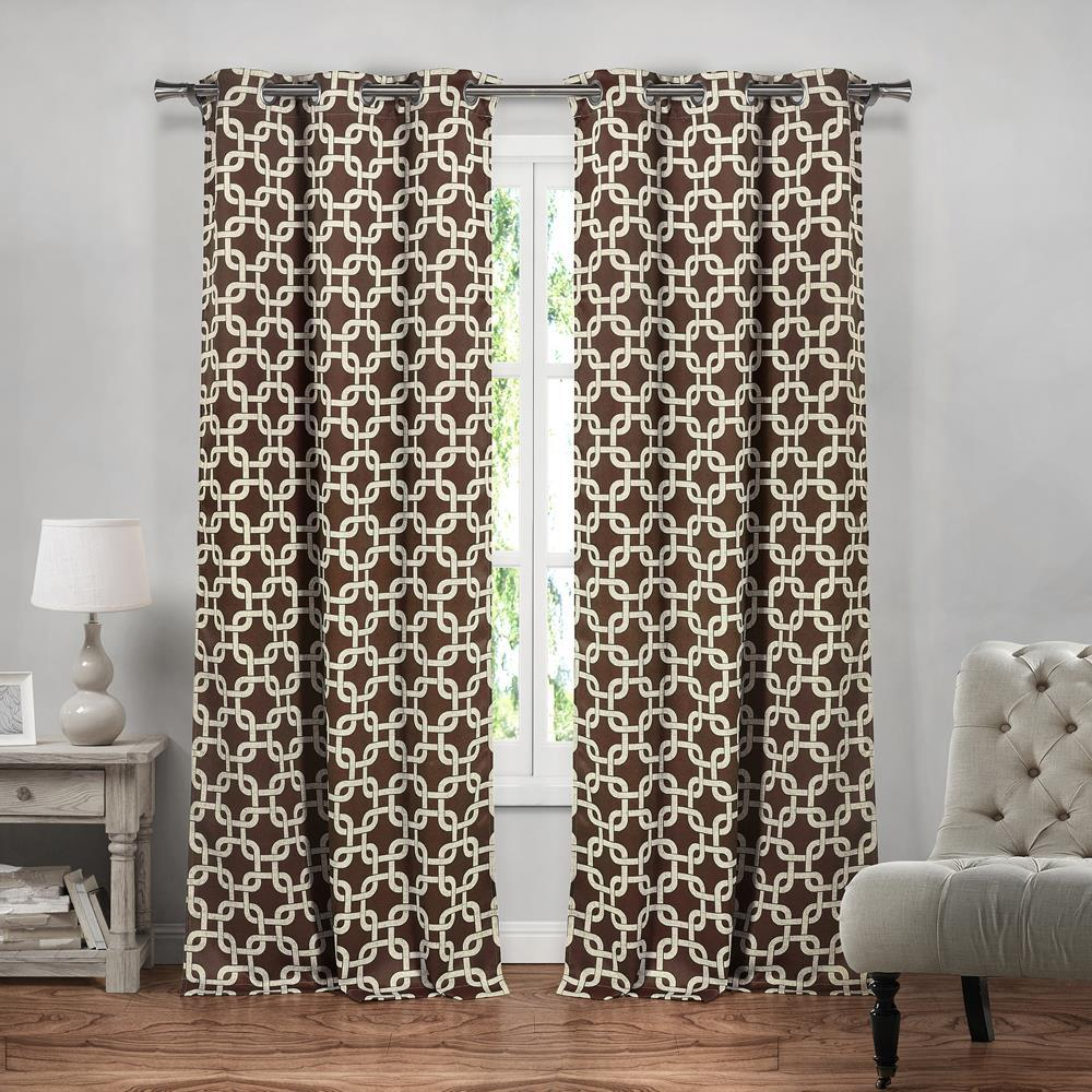 BLACKOUT 365 Kristin 37 in. W x 84 in. L Polyester Window Panel in Chocolate