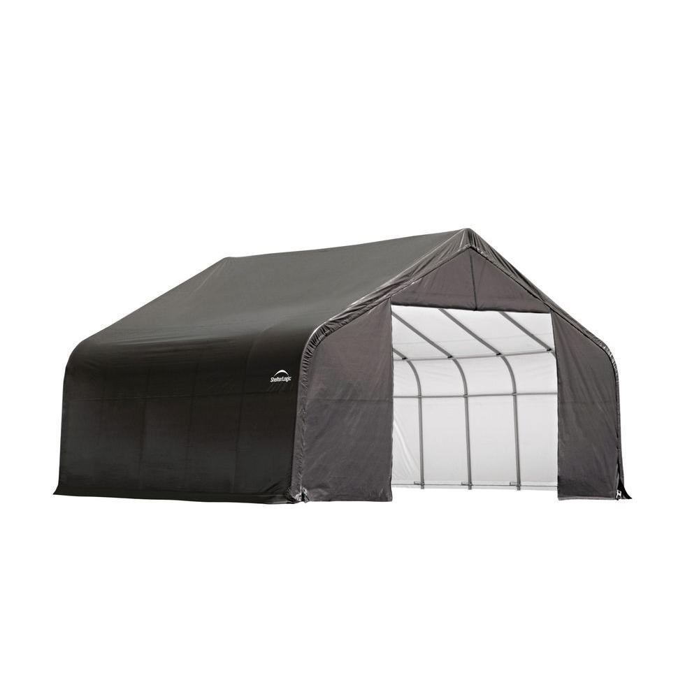ShelterLogic 26 ft. x 24 ft. x 16 ft. Grey Cover Peak Style Shelter - DISCONTINUED