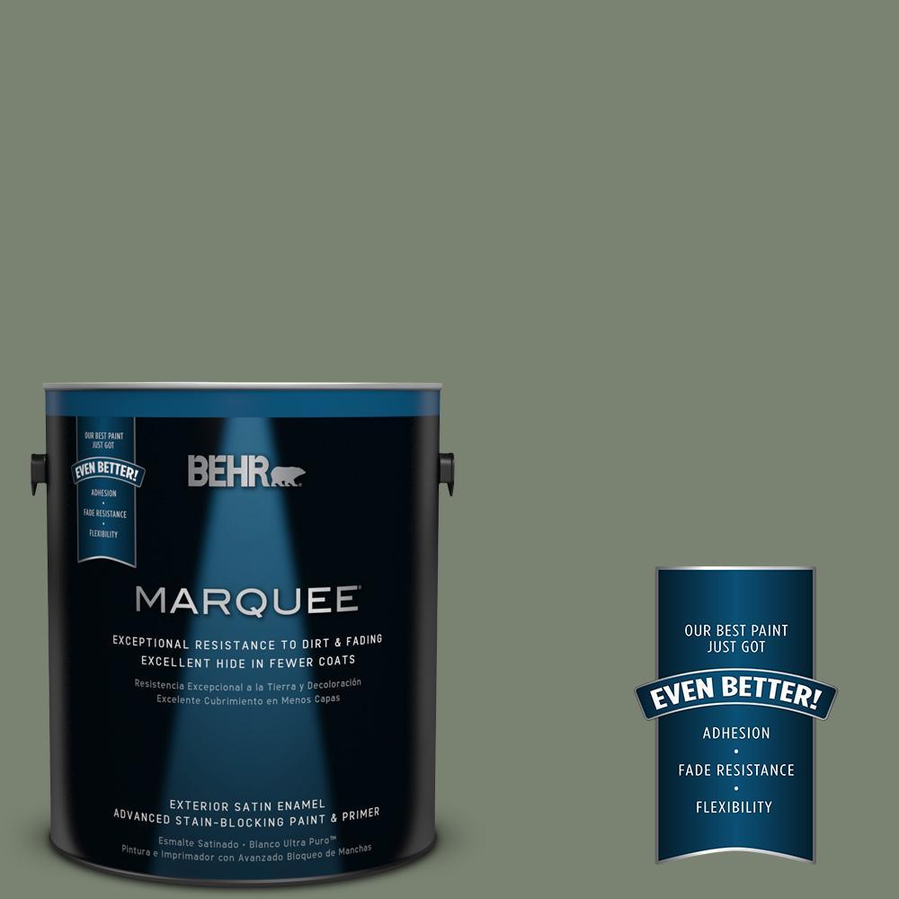 BEHR MARQUEE 1-gal. #ICC-77 Sage Green Satin Enamel Exterior Paint