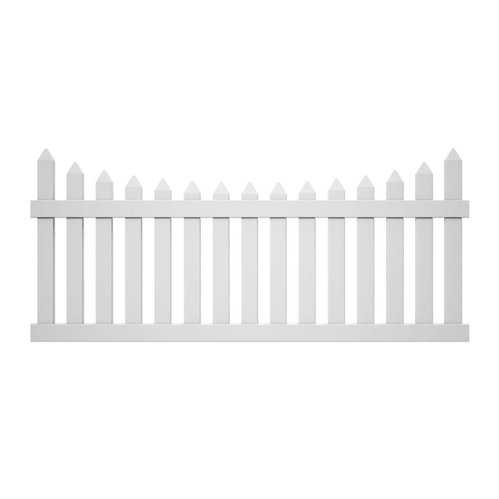 Veranda Pro-Series 3.5 ft. H x 8 ft. W White Vinyl Westchester Scalloped Spaced Picket Fence Panel - Unassembled