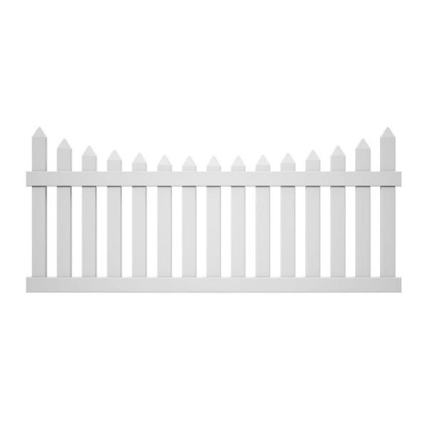 Pro-Series 3.5 ft. H x 8 ft. W White Vinyl Westchester Scalloped Spaced Picket Fence Panel - Unassembled