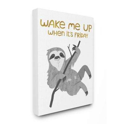 "30 in. x 40 in. ""Wake Me Up Friday Black and Grey Hanging Sloth"" by Kiel Evins Canvas Wall Art"
