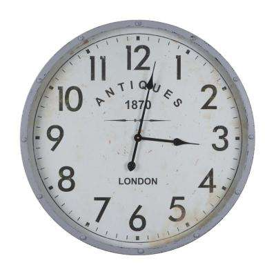 Antiques 1870 Distressed White Riveted Wall Clock