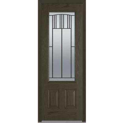 36 in. x 96 in. Madison Right-Hand Inswing 3/4-Lite Decorative 2-Panel Stained Fiberglass Oak Prehung Front Door