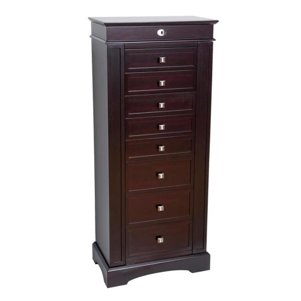 Mele & Co Olympia Dark Walnut Finish Wooden Jewelry Armoire 00915F14