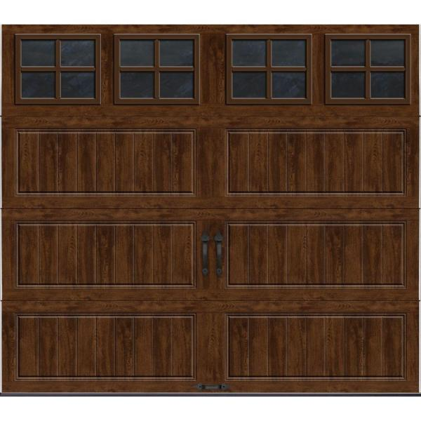 Gallery Collection 8 ft. x 7 ft. 6.5 R-Value Insulated Ultra-Grain Walnut Garage Door with SQ22 Window