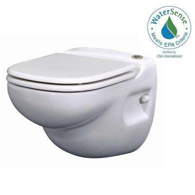 SaniStar 1-piece 1.28/1 GPF Dual Flush Elongated Toilet in White with Wall Carrier