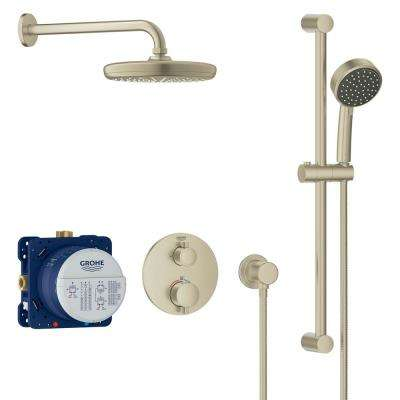 Grohtherm Cube 2-Spray Shower Set with Tempesta 210 in Brushed Nickel