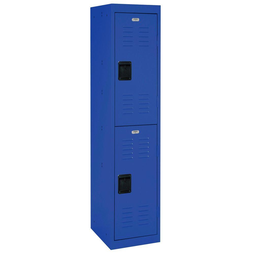 66 in. H x 15 in. W x 18 in. D 2-Tier Welded Steel Storage Locker in Blue