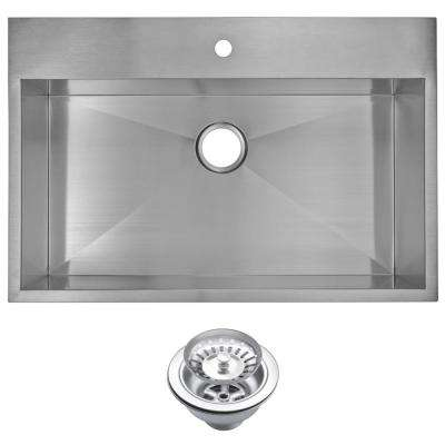 Drop-In Stainless Steel 33 in. 1 Hole Single Bowl Kitchen Sink with Strainer in Satin