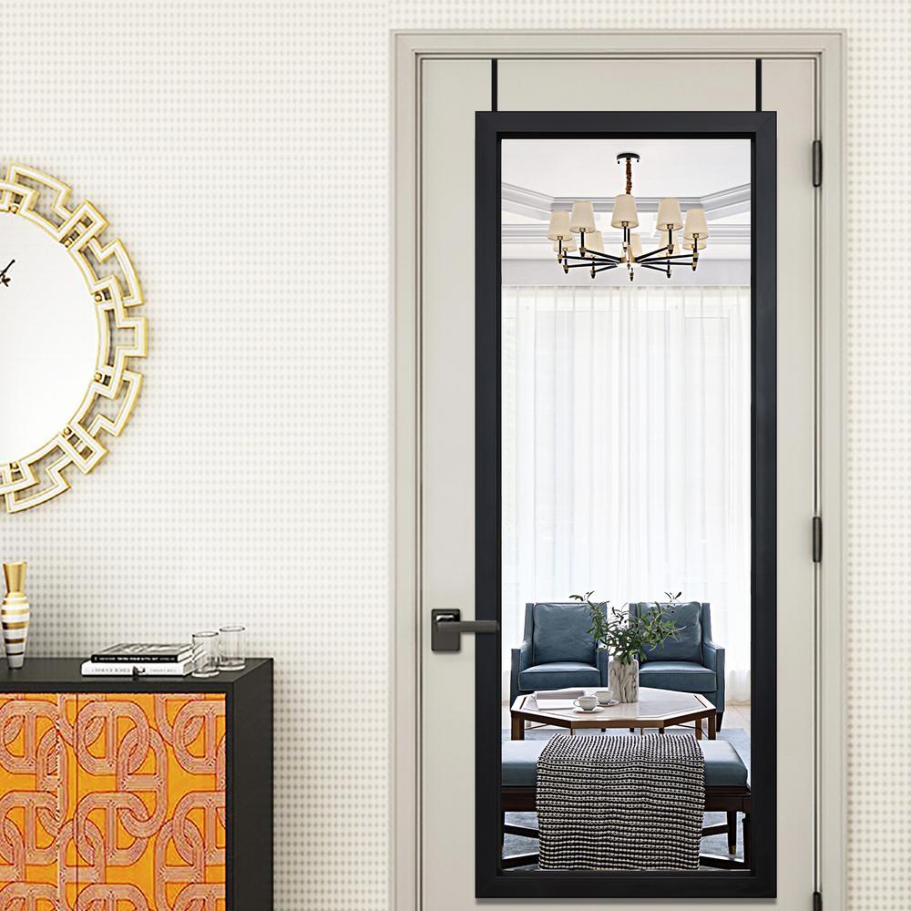 18 in. x 51 in. Modern Style Rectangle Mirror Simple Framed Black Door Mirror Full Length Wall Mirror