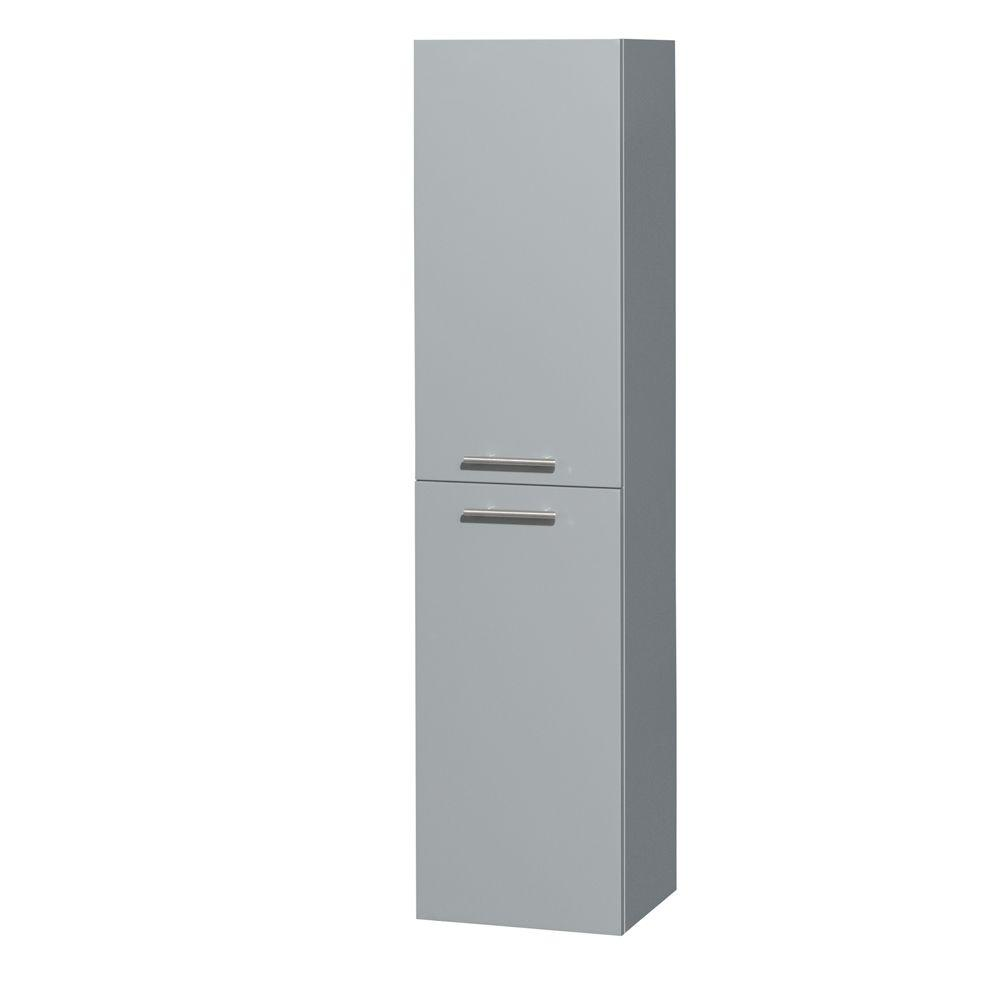Wyndham Collection Amare 13-3/4 in. W x 56 in. H x 12 in. D Bathroom Storage Wall Cabinet in Dove Gray