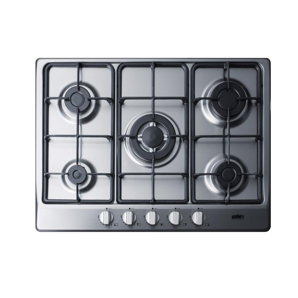 summit appliance 27 in gas cooktop in stainless steel with 5 burners including power burner. Black Bedroom Furniture Sets. Home Design Ideas