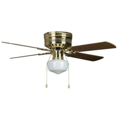Hugger Schoolhouse Series 42 in. Indoor Polished Brass Ceiling Fan