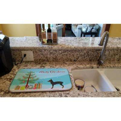14 in. x 21 in. Multicolor Toy Fox Terrier Merry Christmas Tree Dish Drying Mat