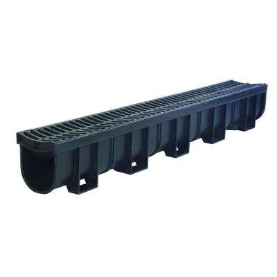 Easy Drain Series 5.4 in. Wide x 5.4 in. Deep x 39.4 in. Long Channel and Grate with Bottom Outlet in Black