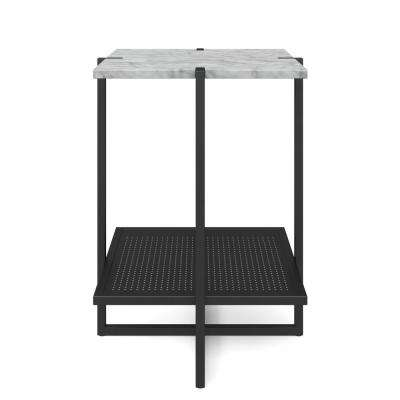 Myles White Marble Top and Black Metal Base 2-Tier Modern Accent Table