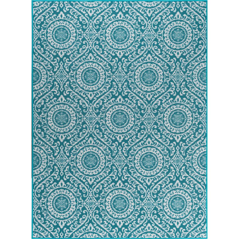 Elegant Tayse Rugs Majesty Teal 9 Ft. X 13 Ft. Transitional Area Rug