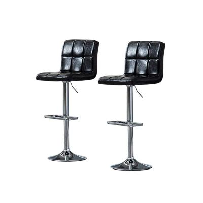 21.5 in. - 31.5 in. Height Adjustable Black Swivel Leather Bar Stool (Set of 2)