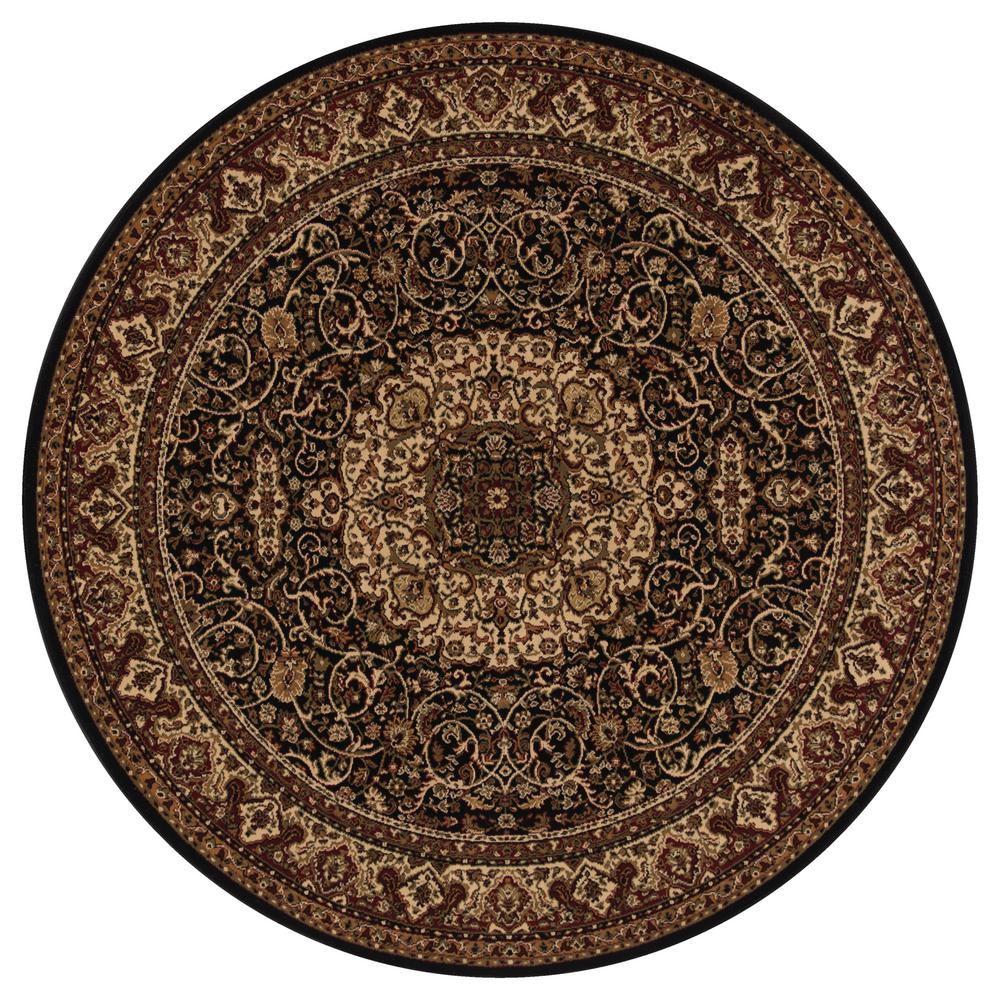 Concord Global Trading Persian Classics Isfahan Black 5 Ft. Round Area Rug