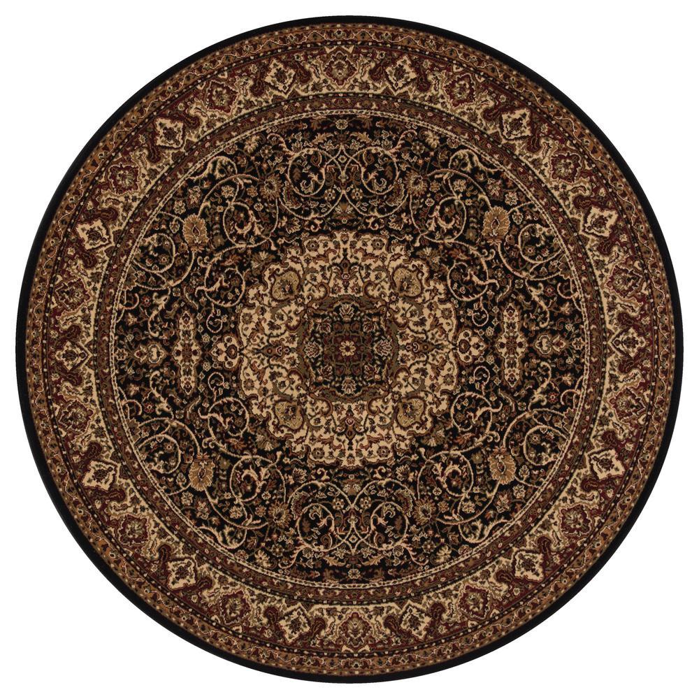 Persian Classics Isfahan Black 5 ft. Round Area Rug