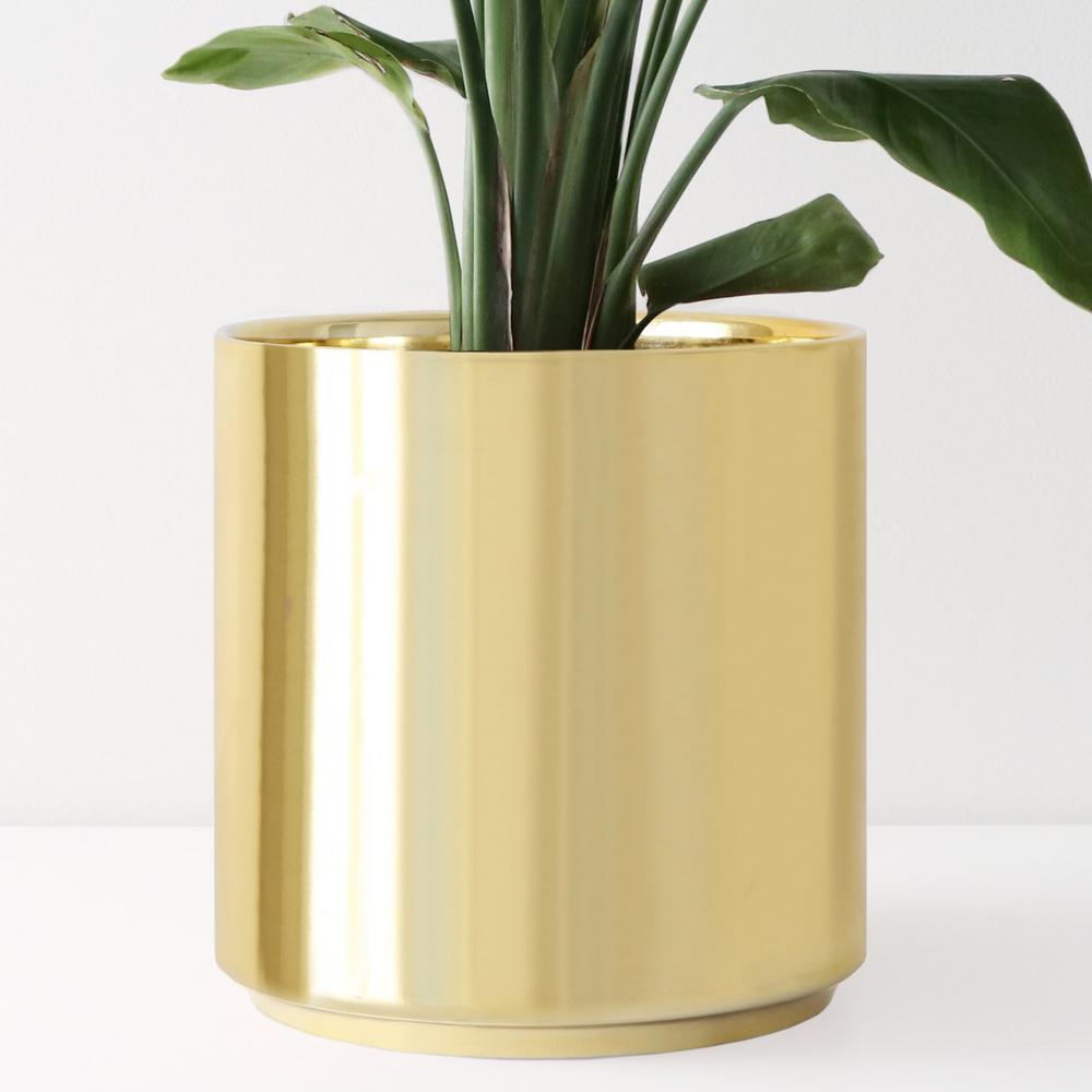 8 in. Gold Ceramic Indoor Planter (7 in. to 12 in.)