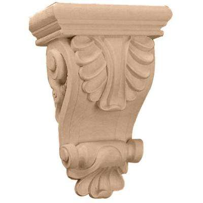 6 in. x 3-1/4 in. x 8-1/4 in. Maple Thin Acanthus Leaf Corbel