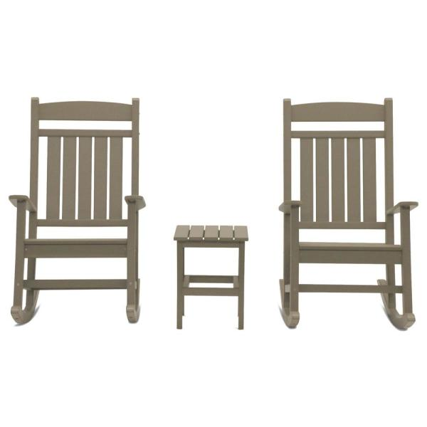 Classic Rocker Weathered Wood 3-Piece Plastic Outdoor Chat Set