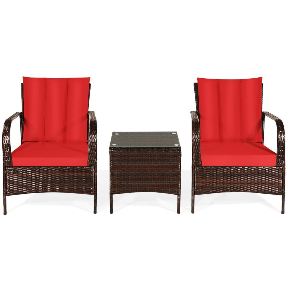 Mix Brown 3-Piece Rattan Wicker Outdoor Furniture Patio Conversation Set with Orange Cushions