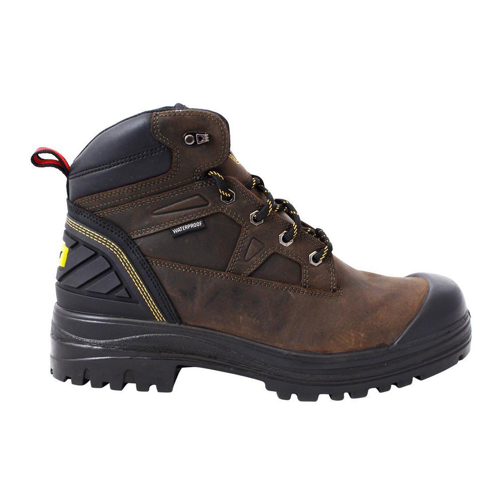 Assure Men's Size 11 Brown Leather Steel Toe Waterproof 6 in. Work Boot