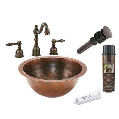 All-in-One Small Round Under Counter Hammered Copper Bathroom Sink in Oil Rubbed Bronze