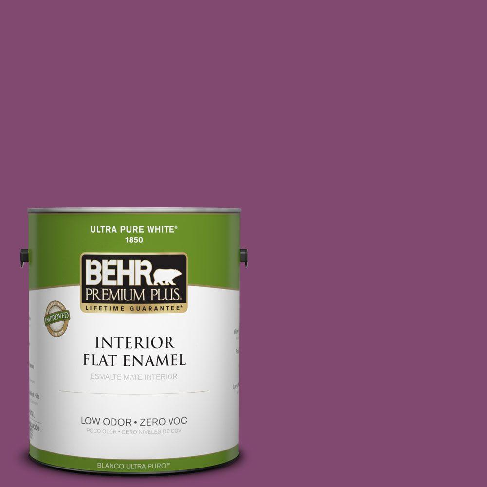 BEHR Premium Plus 1-gal. #680B-7 Sugar Plum Zero VOC Flat Enamel Interior Paint-DISCONTINUED