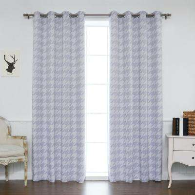 84 in. L Polyester Large Houndstooth Room Darkening Curtains in Lilac(2-Pack)